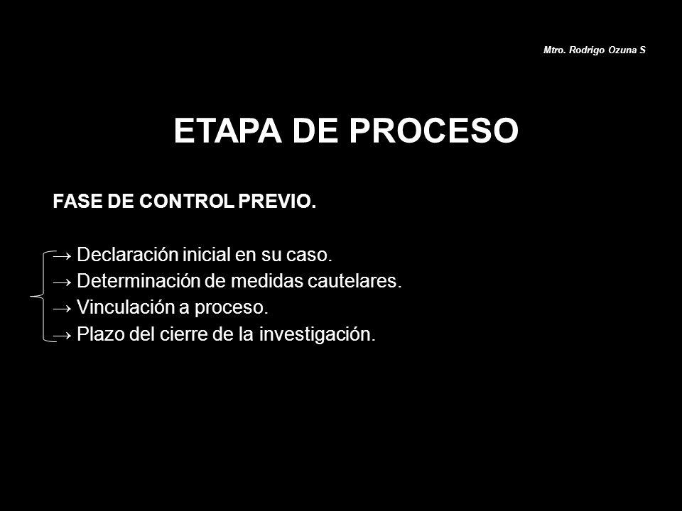 ETAPA DE PROCESO Mtro. Rodrigo Ozuna S FASE DE CONTROL PREVIO. Declaración inicial en su caso. Determinación de medidas cautelares. Vinculación a proc