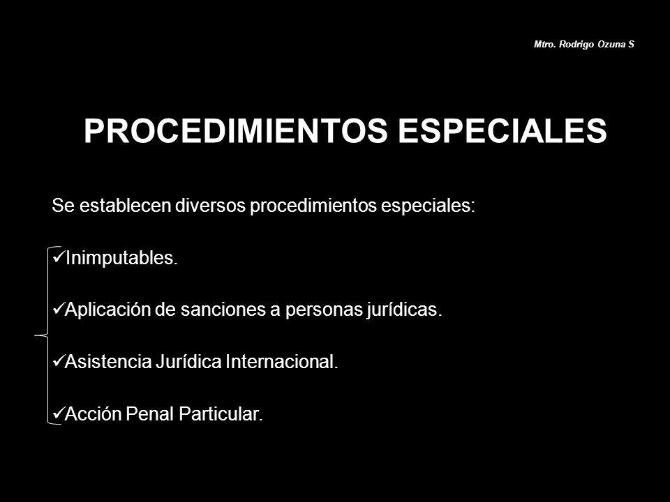 PROCEDIMIENTOS ESPECIALES Mtro. Rodrigo Ozuna S Se establecen diversos procedimientos especiales: Inimputables. Aplicación de sanciones a personas jur