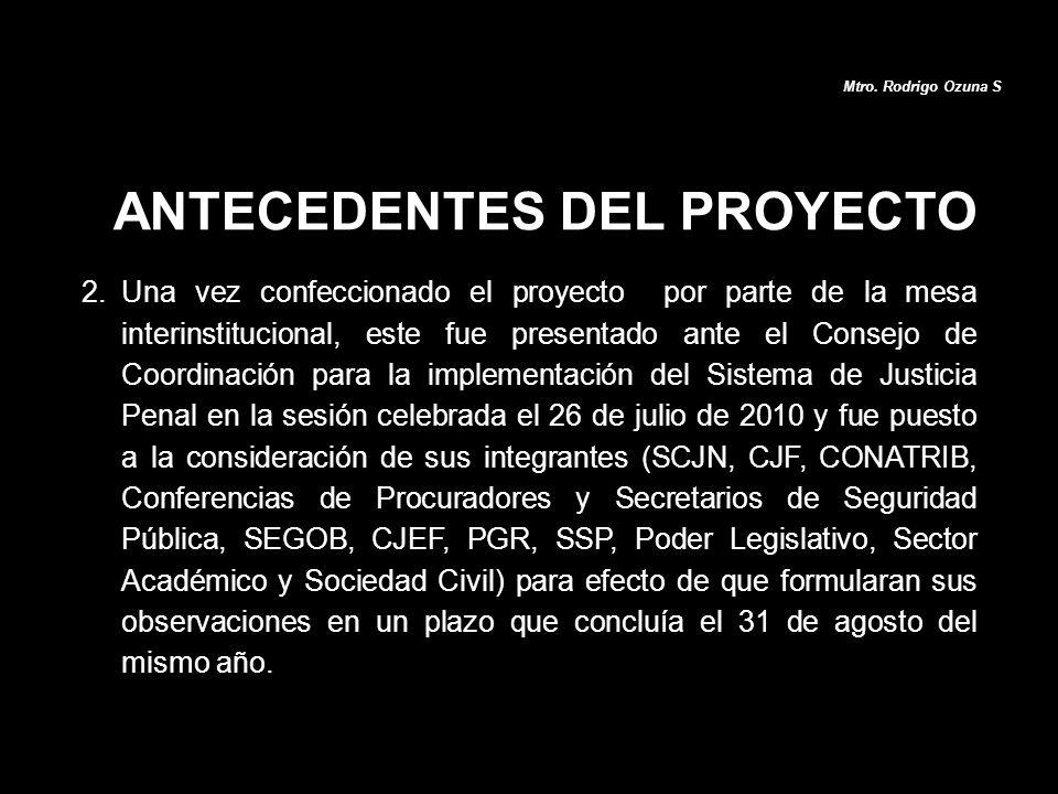 2.Una vez confeccionado el proyecto por parte de la mesa interinstitucional, este fue presentado ante el Consejo de Coordinación para la implementació