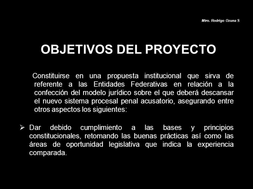 OBJETIVOS DEL PROYECTO Constituirse en una propuesta institucional que sirva de referente a las Entidades Federativas en relación a la confección del