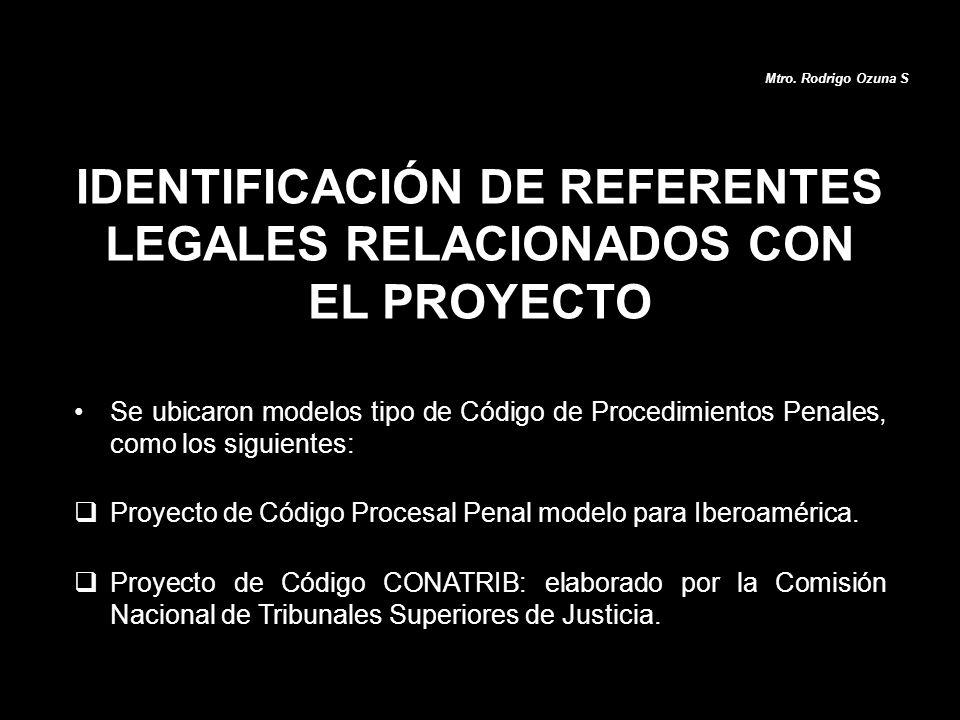 Se ubicaron modelos tipo de Código de Procedimientos Penales, como los siguientes: Proyecto de Código Procesal Penal modelo para Iberoamérica. Proyect
