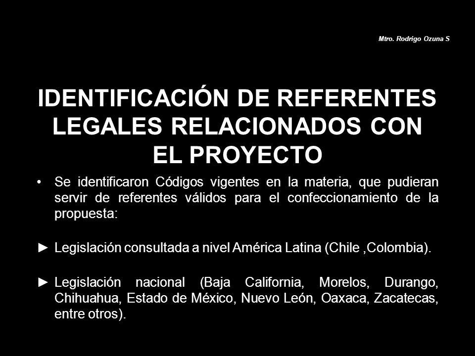 Se identificaron Códigos vigentes en la materia, que pudieran servir de referentes válidos para el confeccionamiento de la propuesta: Legislación cons