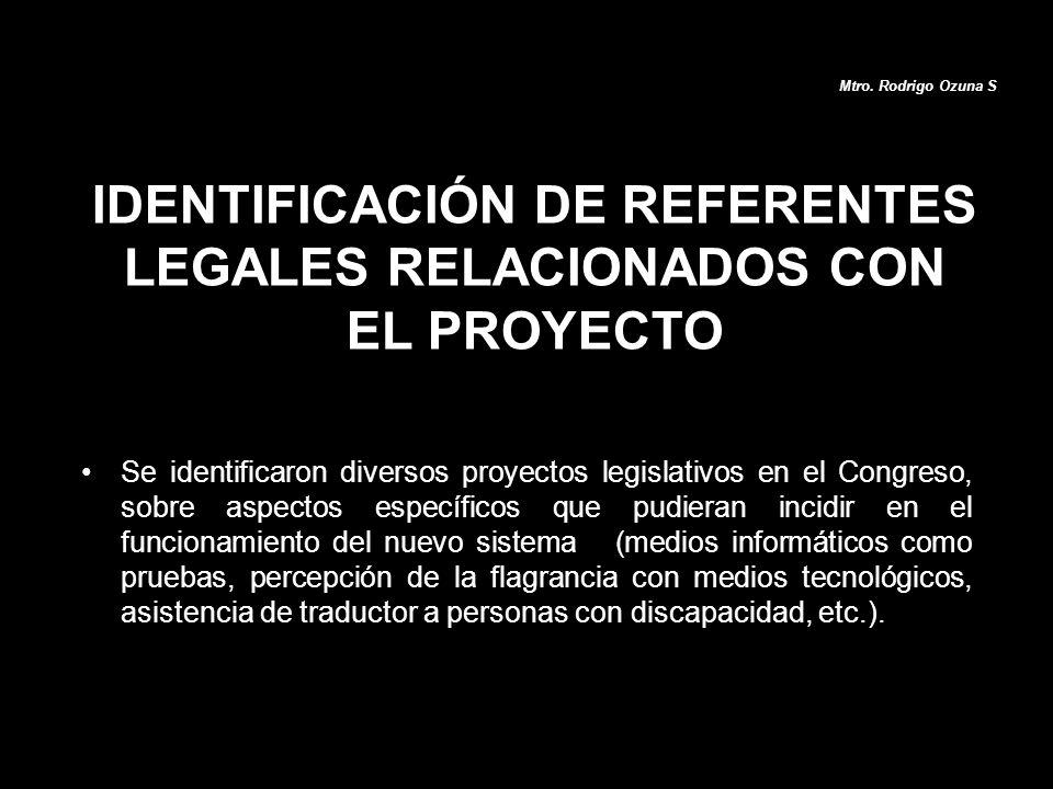 IDENTIFICACIÓN DE REFERENTES LEGALES RELACIONADOS CON EL PROYECTO Se identificaron diversos proyectos legislativos en el Congreso, sobre aspectos espe