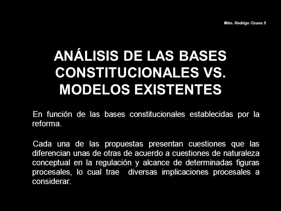 ANÁLISIS DE LAS BASES CONSTITUCIONALES VS. MODELOS EXISTENTES En función de las bases constitucionales establecidas por la reforma. Cada una de las pr