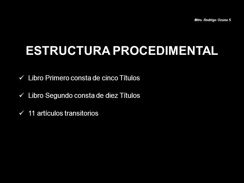 Libro Primero consta de cinco Títulos Libro Segundo consta de diez Títulos 11 artículos transitorios ESTRUCTURA PROCEDIMENTAL Mtro. Rodrigo Ozuna S