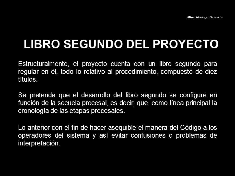 LIBRO SEGUNDO DEL PROYECTO Estructuralmente, el proyecto cuenta con un libro segundo para regular en él, todo lo relativo al procedimiento, compuesto