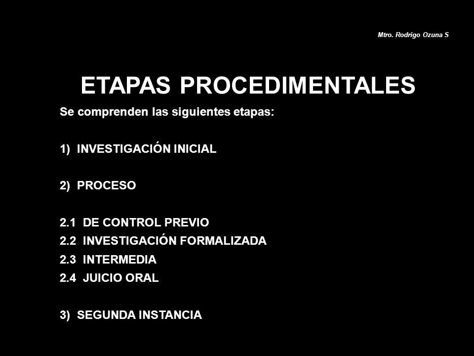 Se comprenden las siguientes etapas: 1) INVESTIGACIÓN INICIAL 2) PROCESO 2.1 DE CONTROL PREVIO 2.2 INVESTIGACIÓN FORMALIZADA 2.3 INTERMEDIA 2.4 JUICIO