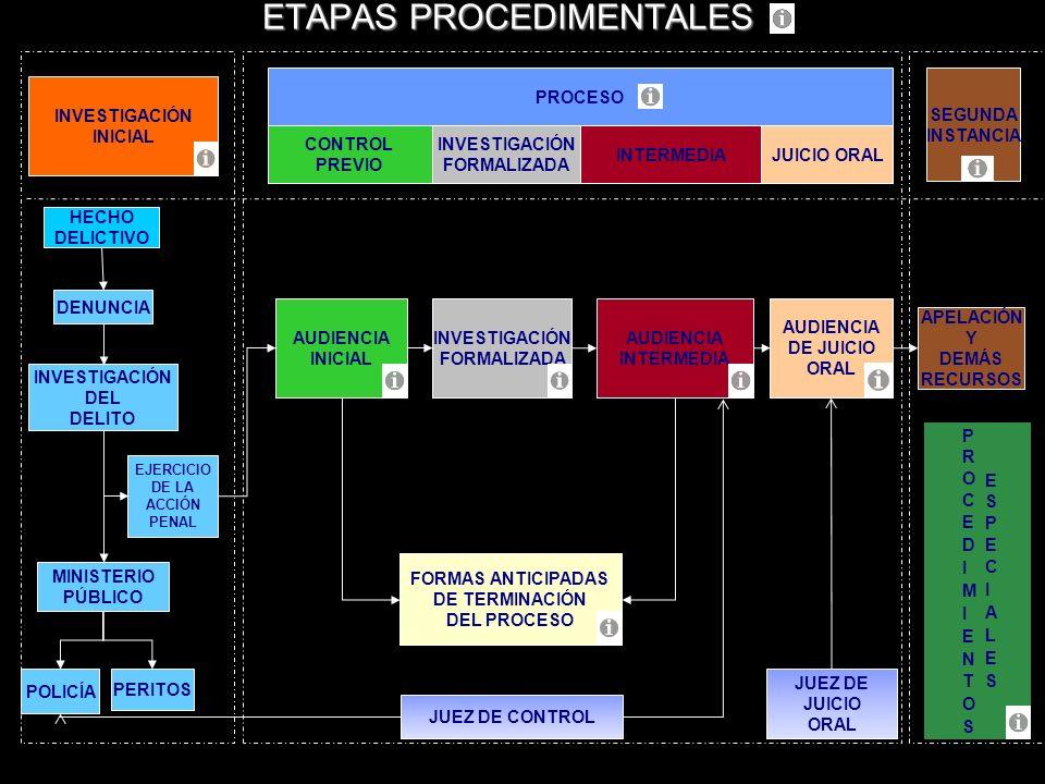 PROCESO INVESTIGACIÓN INICIAL DENUNCIA MINISTERIO PÚBLICO PERITOS JUICIO ORAL HECHO DELICTIVO INVESTIGACIÓN DEL DELITO POLICÍA CONTROL PREVIO ETAPAS P
