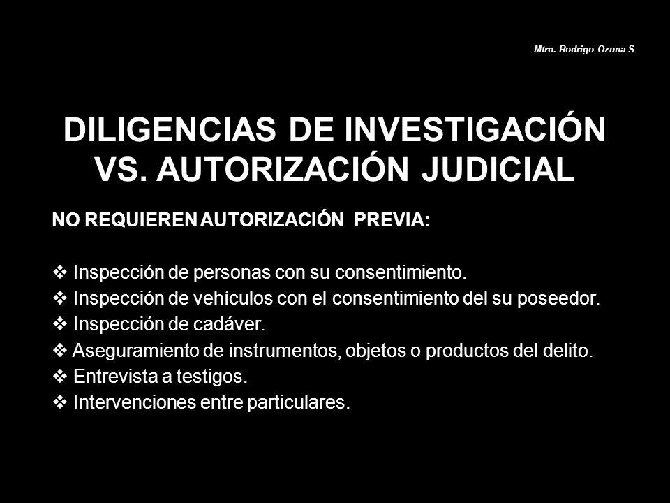 DILIGENCIAS DE INVESTIGACIÓN VS. AUTORIZACIÓN JUDICIAL NO REQUIEREN AUTORIZACIÓN PREVIA: Inspección de personas con su consentimiento. Inspección de v