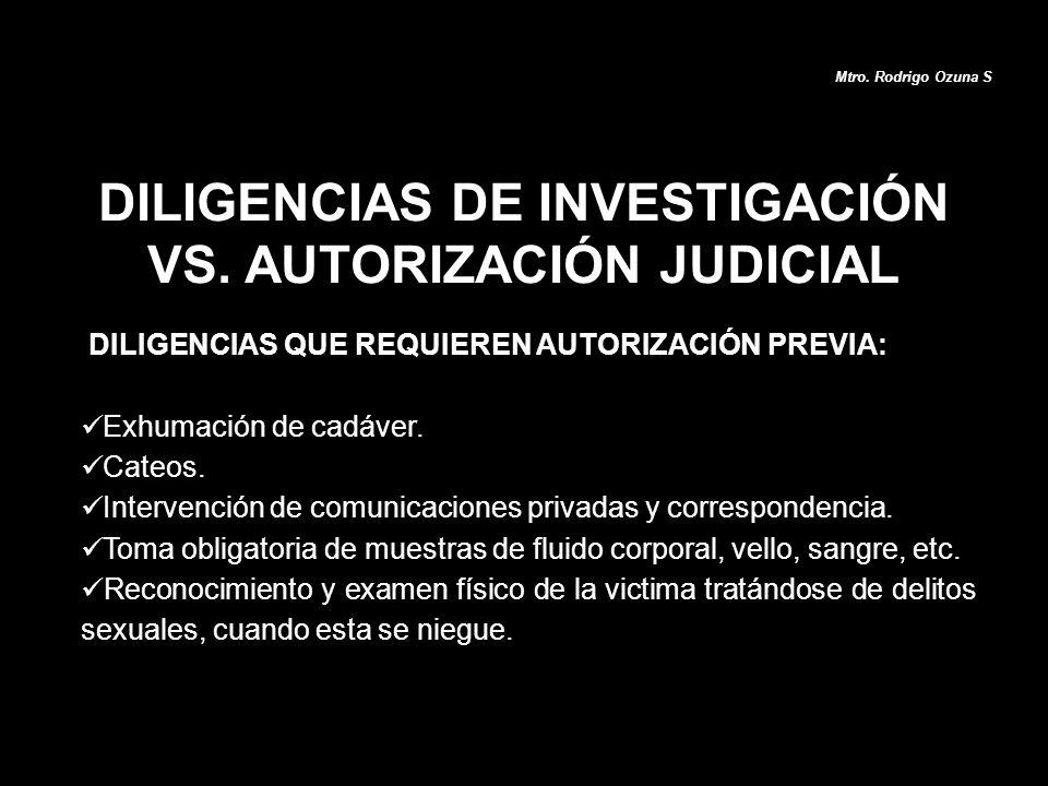DILIGENCIAS DE INVESTIGACIÓN VS. AUTORIZACIÓN JUDICIAL Mtro. Rodrigo Ozuna S DILIGENCIAS QUE REQUIEREN AUTORIZACIÓN PREVIA: Exhumación de cadáver. Cat