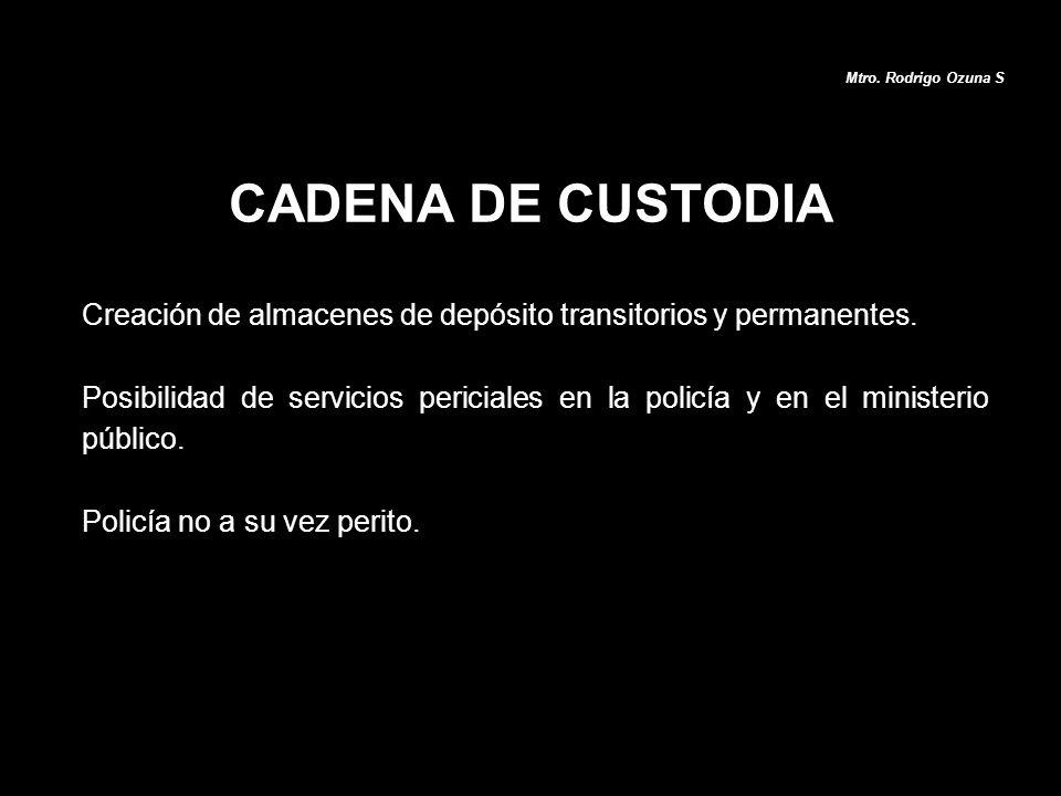 Creación de almacenes de depósito transitorios y permanentes. Posibilidad de servicios periciales en la policía y en el ministerio público. Policía no