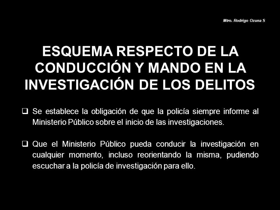 ESQUEMA RESPECTO DE LA CONDUCCIÓN Y MANDO EN LA INVESTIGACIÓN DE LOS DELITOS Mtro. Rodrigo Ozuna S Se establece la obligación de que la policía siempr