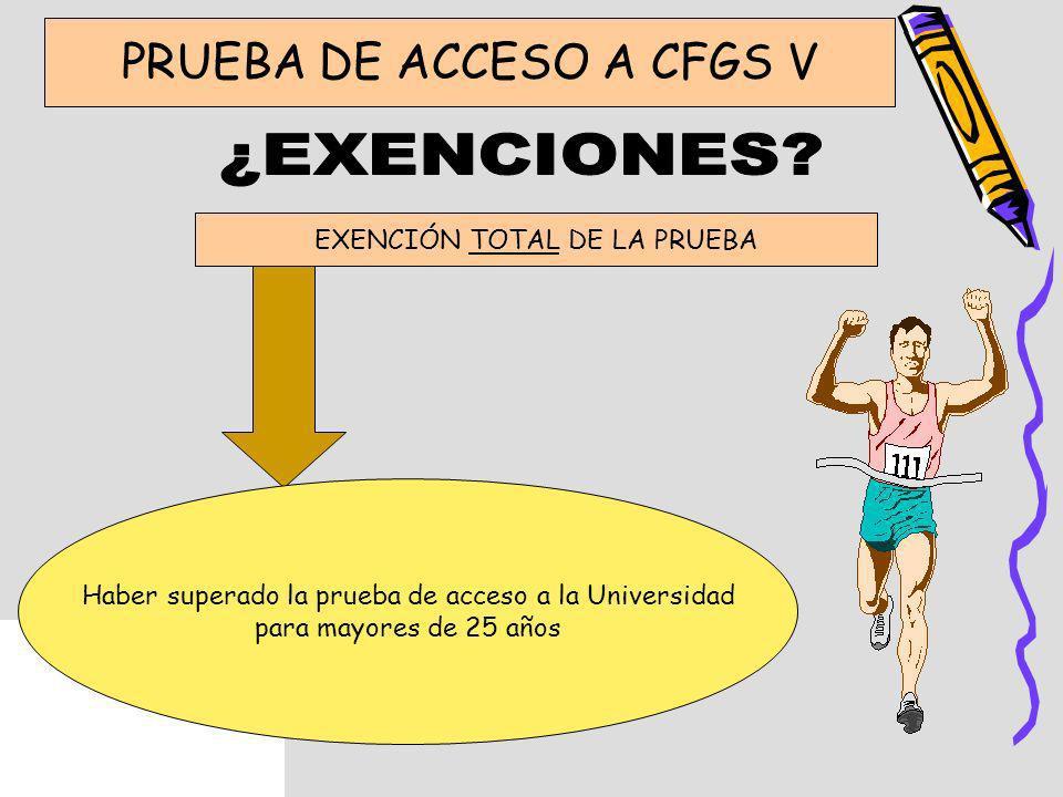 PRUEBA DE ACCESO A CFGS V EXENCIÓN TOTAL DE LA PRUEBA Haber superado la prueba de acceso a la Universidad para mayores de 25 años