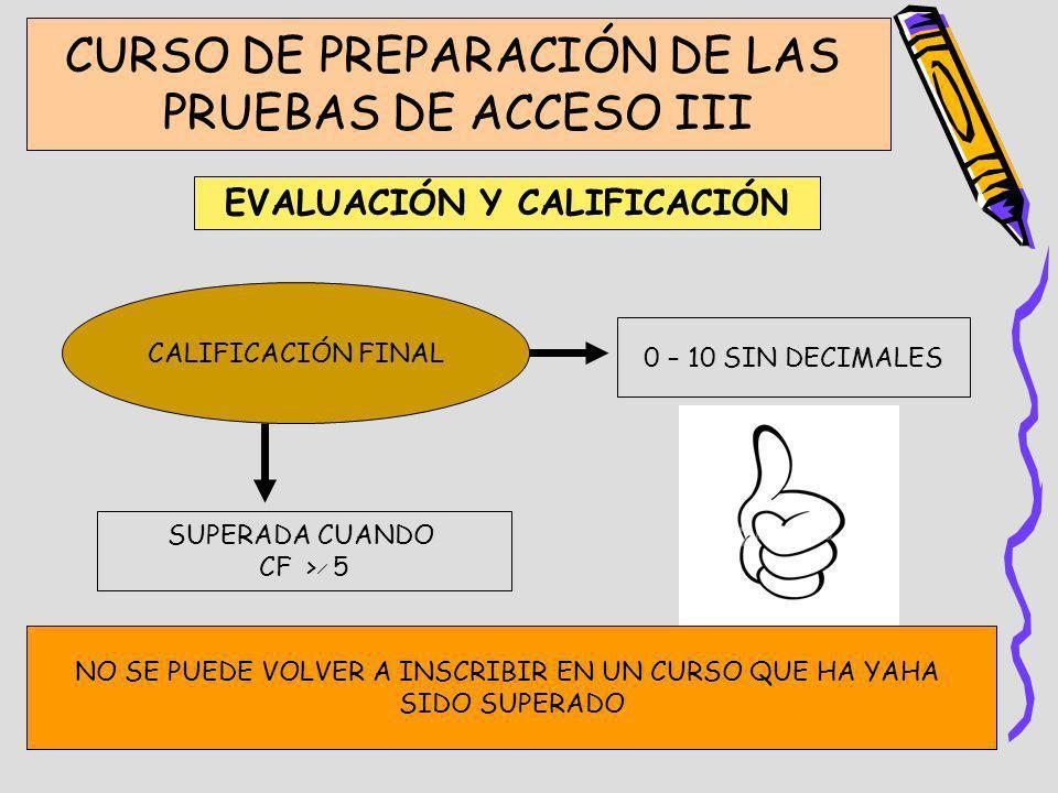 CURSO DE PREPARACIÓN DE LAS PRUEBAS DE ACCESO III EVALUACIÓN Y CALIFICACIÓN CALIFICACIÓN FINAL 0 – 10 SIN DECIMALES SUPERADA CUANDO CF > 5 NO SE PUEDE
