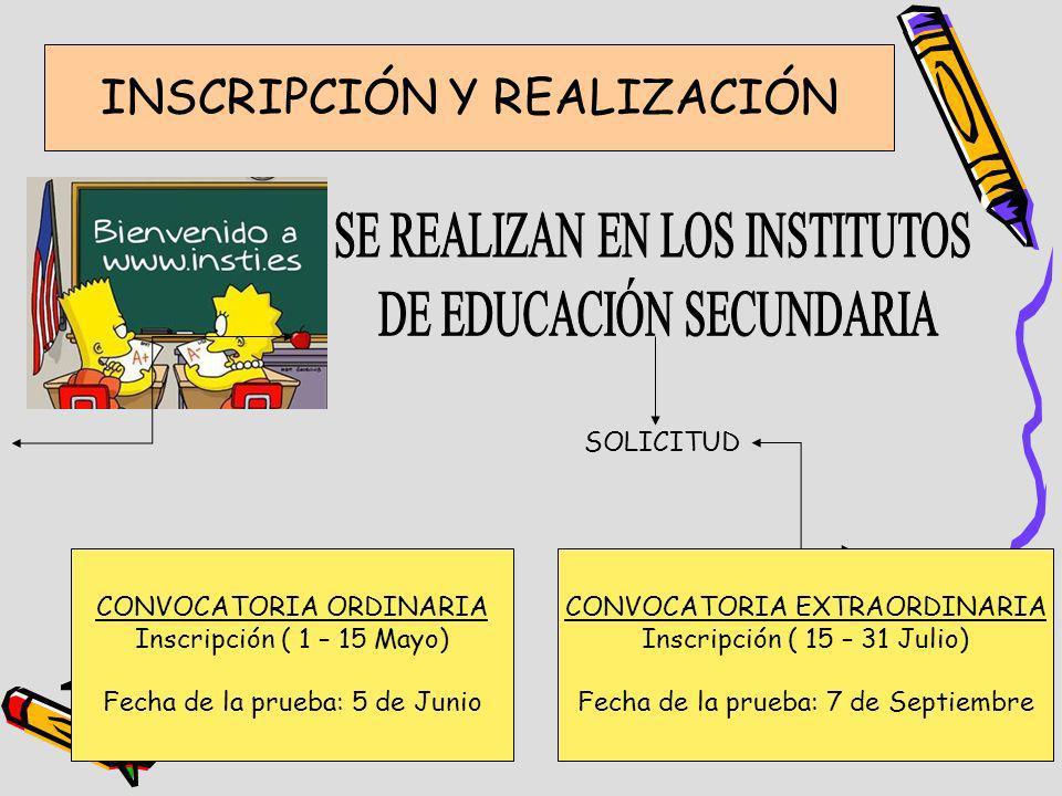INSCRIPCIÓN Y REALIZACIÓN SOLICITUD CONVOCATORIA ORDINARIA Inscripción ( 1 – 15 Mayo) Fecha de la prueba: 5 de Junio CONVOCATORIA EXTRAORDINARIA Inscr