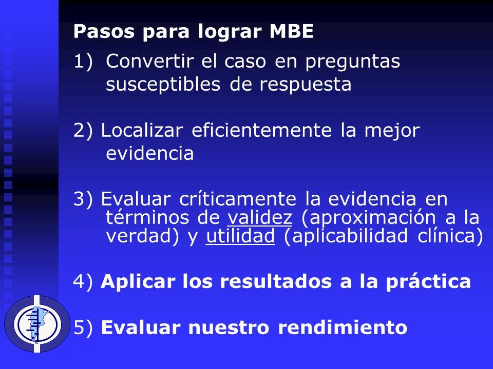 Pasos para lograr MBE 1)Convertir el caso en preguntas susceptibles de respuesta 2) Localizar eficientemente la mejor evidencia 3) Evaluar críticamente la evidencia en términos de validez (aproximación a la verdad) y utilidad (aplicabilidad clínica) 4) Aplicar los resultados a la práctica 5) Evaluar nuestro rendimiento
