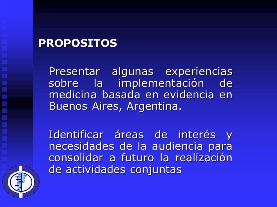 PROPOSITOS Presentar algunas experiencias sobre la implementación de medicina basada en evidencia en Buenos Aires, Argentina.