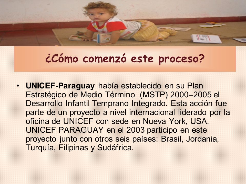 2003-2004: La iniciativa de UNICEF Paraguay Equipo técnico en UNICEF a nivel local Conformación de la Mesa Consultiva: 35 encuentros con participación de OG y ONG.