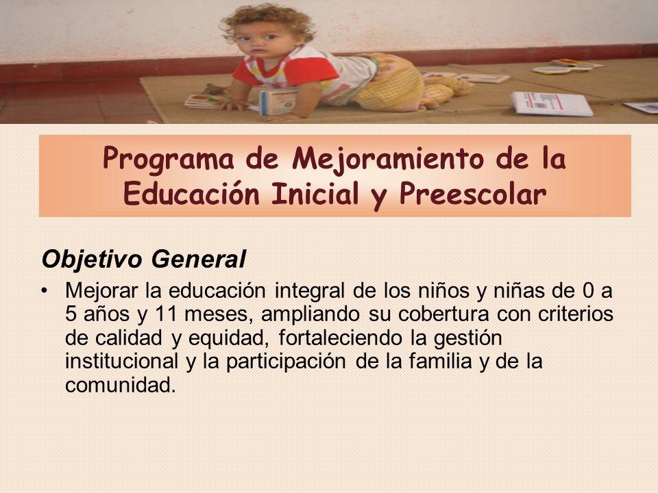 Universalizar la cobertura en la educación preescolar con criterios de calidad y equidad.