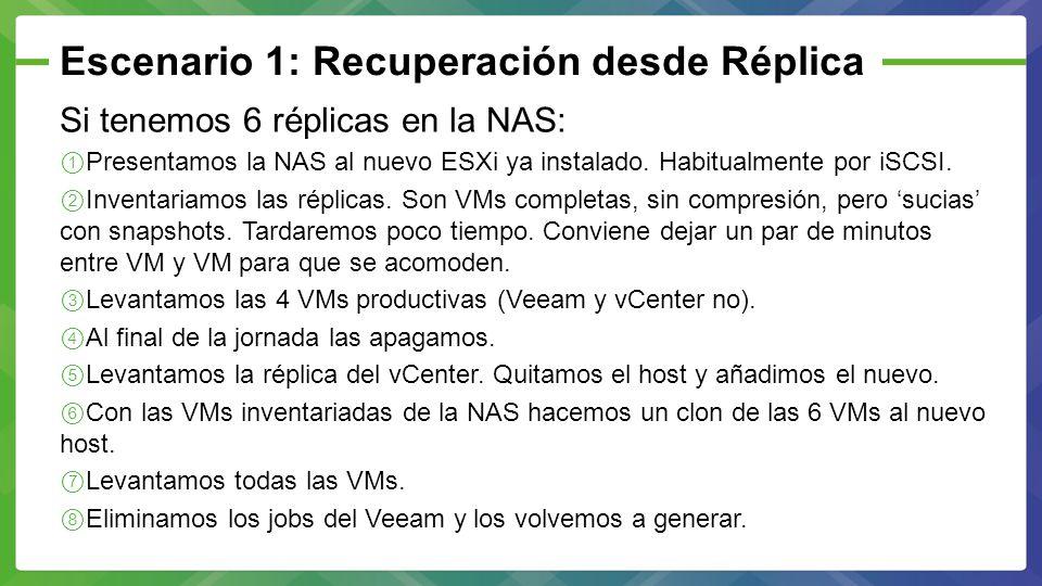 Escenario 1: Recuperación desde Réplica Si tenemos 6 réplicas en la NAS: Presentamos la NAS al nuevo ESXi ya instalado. Habitualmente por iSCSI. Inven