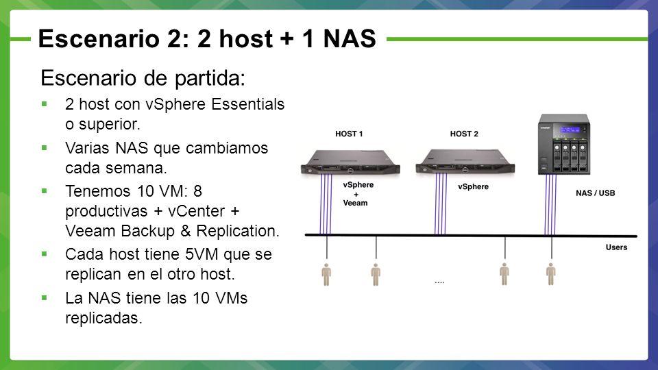 Escenario 2: 2 host + 1 NAS Escenario de partida: 2 host con vSphere Essentials o superior. Varias NAS que cambiamos cada semana. Tenemos 10 VM: 8 pro