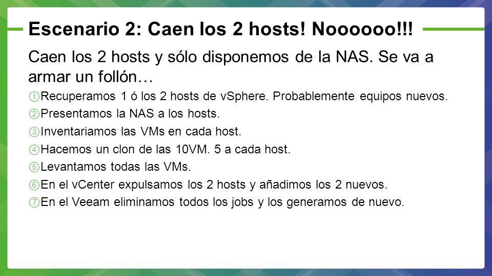 Escenario 2: Caen los 2 hosts! Noooooo!!! Caen los 2 hosts y sólo disponemos de la NAS. Se va a armar un follón… Recuperamos 1 ó los 2 hosts de vSpher
