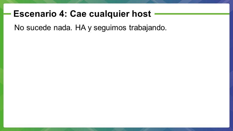 Escenario 4: Cae cualquier host No sucede nada. HA y seguimos trabajando.