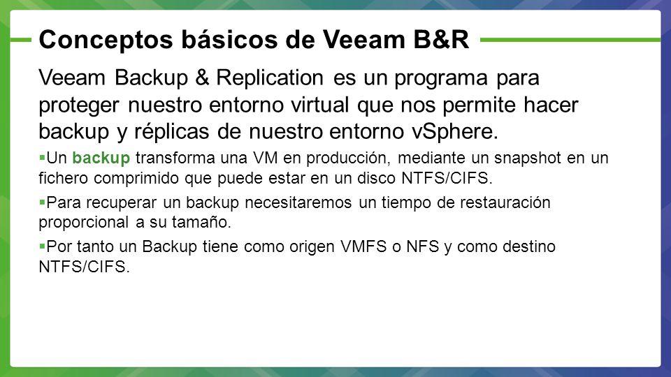 Conceptos básicos de Veeam B&R Veeam Backup & Replication es un programa para proteger nuestro entorno virtual que nos permite hacer backup y réplicas