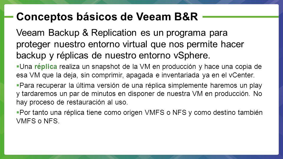 Conceptos básicos de Veeam B&R Veeam Backup & Replication dispone de 3 versiones.