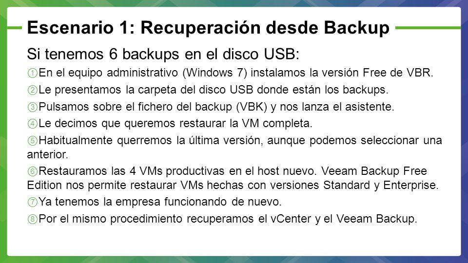 Escenario 1: Recuperación desde Backup Si tenemos 6 backups en el disco USB: En el equipo administrativo (Windows 7) instalamos la versión Free de VBR