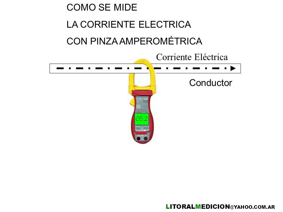 Conductor COMO SE MIDE LA CORRIENTE ELECTRICA CON PINZA AMPEROMÉTRICA Corriente Eléctrica LITORALMEDICION @YAHOO.COM.AR 05.2