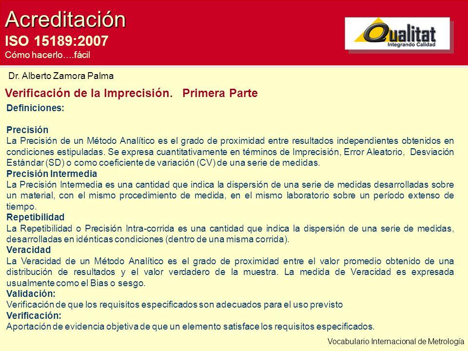 Acreditación ISO 15189:2007 Cómo hacerlo….fácil Verificación de la Imprecisión. Primera Parte Dr. Alberto Zamora Palma Definiciones: Precisión La Prec