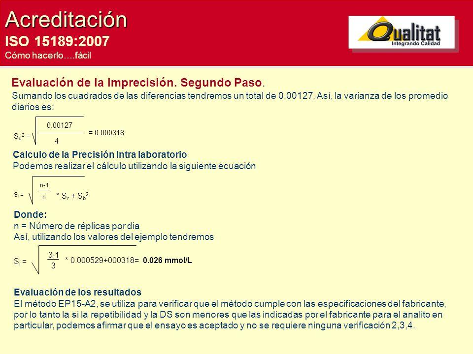 Acreditación ISO 15189:2007 Cómo hacerlo….fácil Evaluación de la Imprecisión. Segundo Paso. Sumando los cuadrados de las diferencias tendremos un tota
