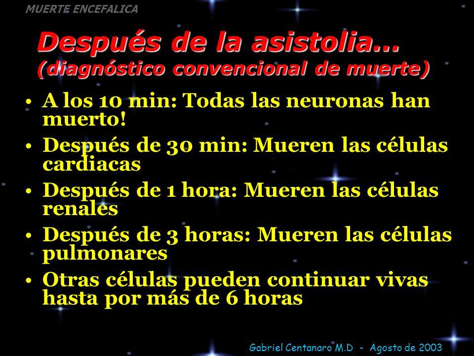 Gabriel Centanaro M.D - Agosto de 2003 MUERTE ENCEFALICA Después de la asistolia... (diagnóstico convencional de muerte) A los 10 min: Todas las neuro