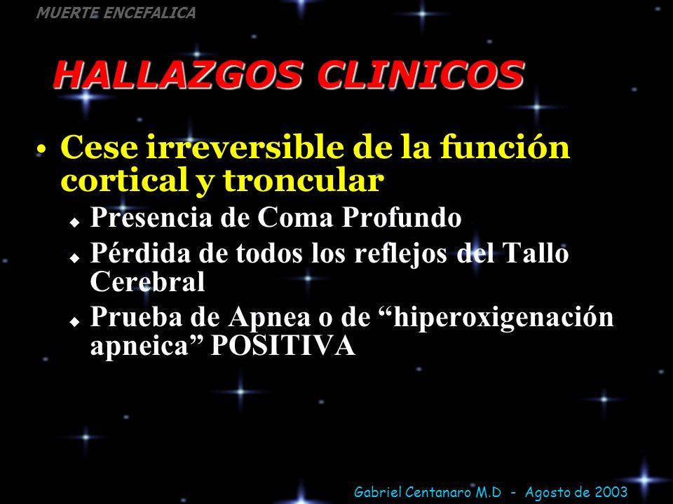 Gabriel Centanaro M.D - Agosto de 2003 MUERTE ENCEFALICA HALLAZGOS CLINICOS Cese irreversible de la función cortical y troncular Presencia de Coma Pro
