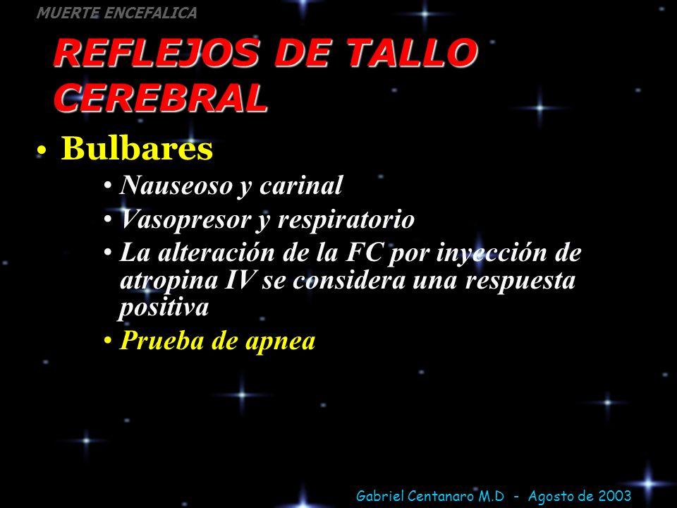 Gabriel Centanaro M.D - Agosto de 2003 MUERTE ENCEFALICA REFLEJOS DE TALLO CEREBRAL Bulbares Nauseoso y carinal Vasopresor y respiratorio La alteració