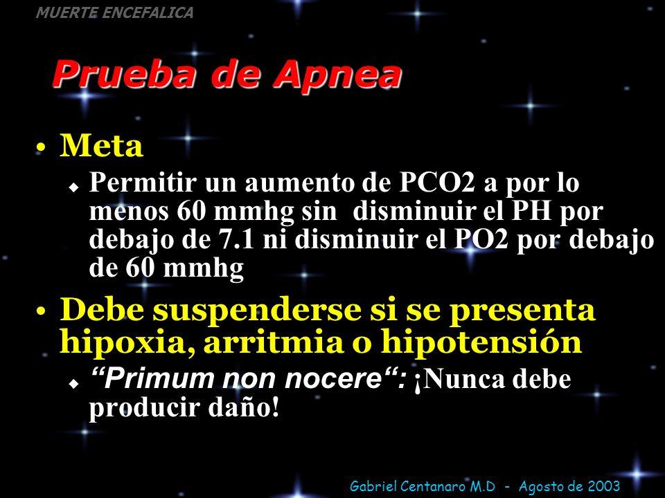 Gabriel Centanaro M.D - Agosto de 2003 MUERTE ENCEFALICA Prueba de Apnea Meta Permitir un aumento de PCO2 a por lo menos 60 mmhg sin disminuir el PH p