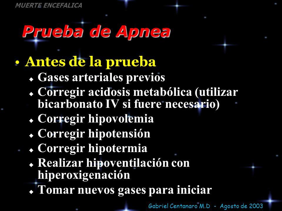 Gabriel Centanaro M.D - Agosto de 2003 MUERTE ENCEFALICA Prueba de Apnea Antes de la prueba Gases arteriales previos Corregir acidosis metabólica (uti