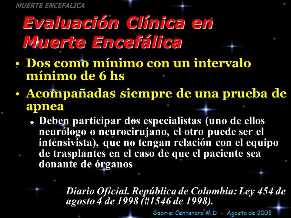 Gabriel Centanaro M.D - Agosto de 2003 MUERTE ENCEFALICA Evaluación Clínica en Muerte Encefálica Dos como mínimo con un intervalo mínimo de 6 hs Acomp