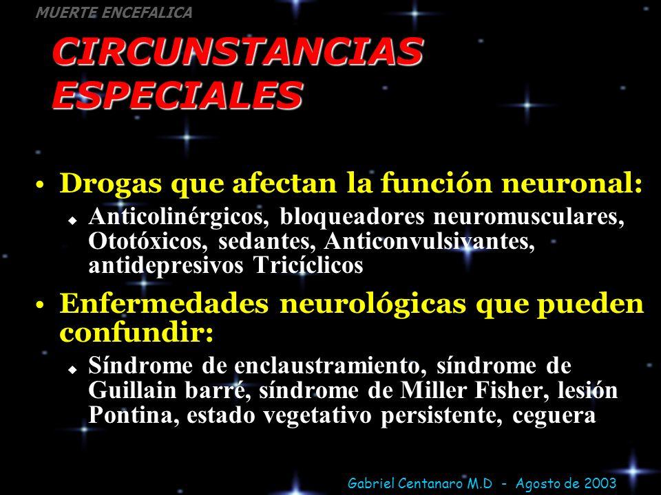 Gabriel Centanaro M.D - Agosto de 2003 MUERTE ENCEFALICA CIRCUNSTANCIAS ESPECIALES Drogas que afectan la función neuronal: Anticolinérgicos, bloqueado