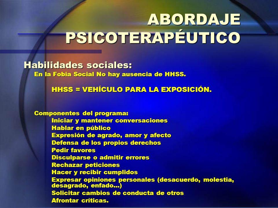 ABORDAJE PSICOTERAPÉUTICO Habilidades sociales: En la Fobia Social No hay ausencia de HHSS. HHSS = VEHÍCULO PARA LA EXPOSICIÓN. Componentes del progra