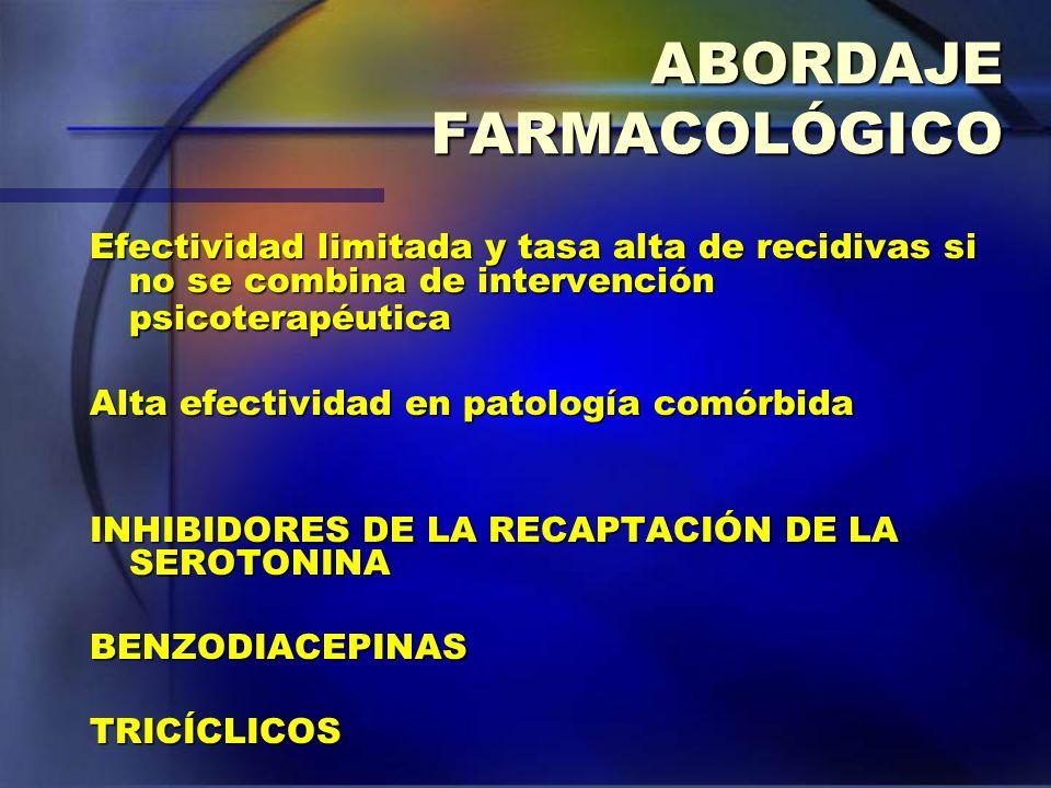 ABORDAJE FARMACOLÓGICO Efectividad limitada y tasa alta de recidivas si no se combina de intervención psicoterapéutica Alta efectividad en patología c