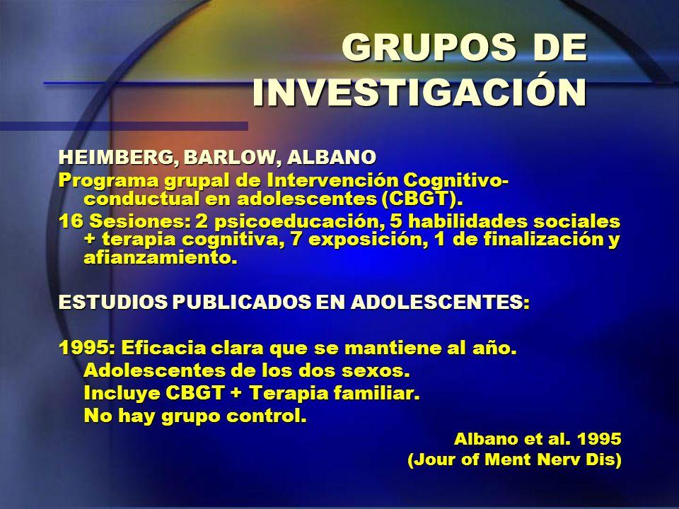 GRUPOS DE INVESTIGACIÓN HEIMBERG, BARLOW, ALBANO Programa grupal de Intervención Cognitivo- conductual en adolescentes (CBGT). 16 Sesiones: 2 psicoedu