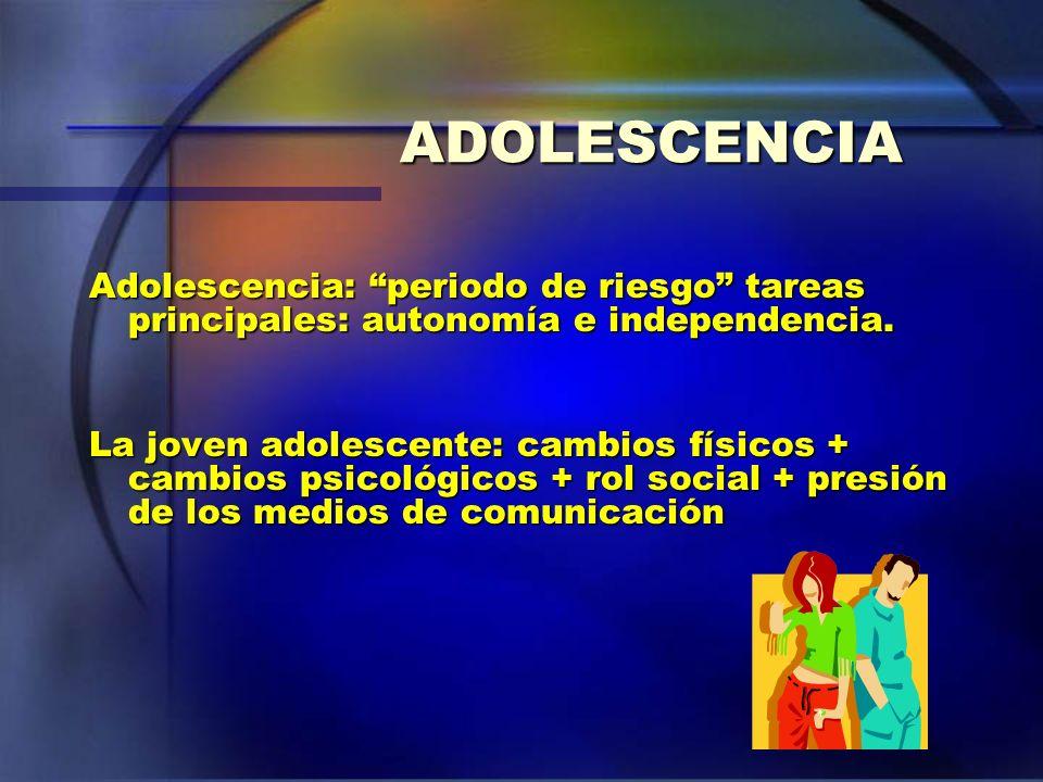 ADOLESCENCIA Adolescencia: periodo de riesgo tareas principales: autonomía e independencia. La joven adolescente: cambios físicos + cambios psicológic