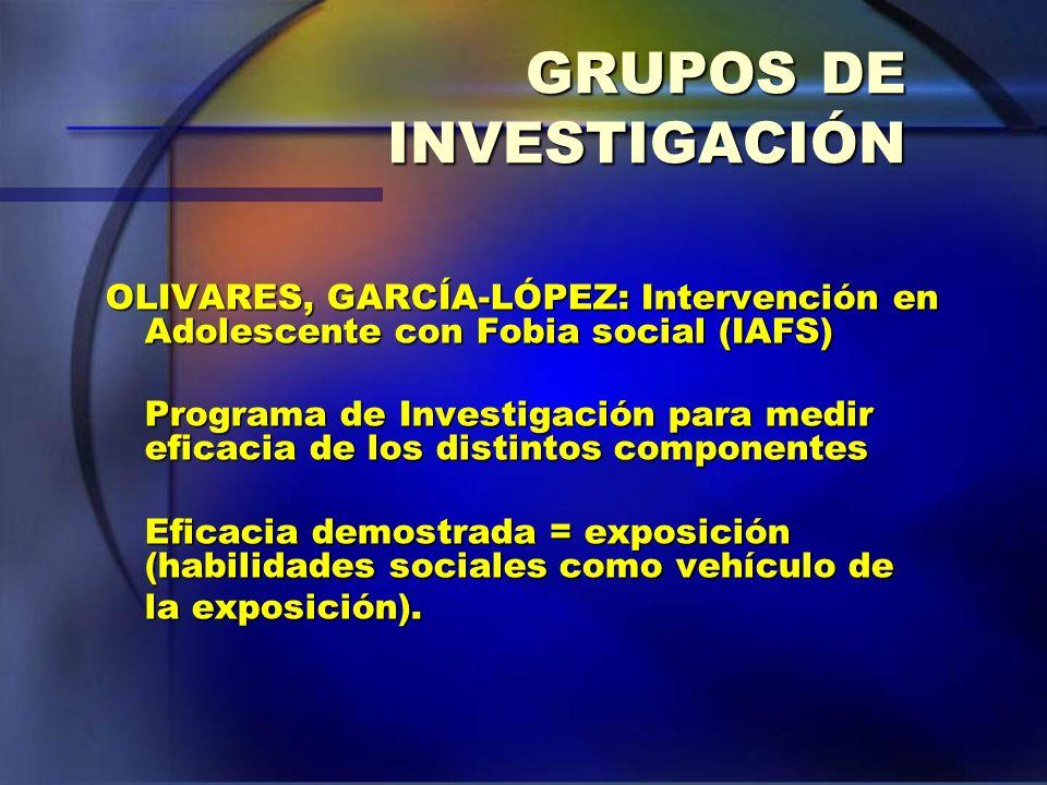 GRUPOS DE INVESTIGACIÓN OLIVARES, GARCÍA-LÓPEZ: Intervención en Adolescente con Fobia social (IAFS) Programa de Investigación para medir eficacia de l