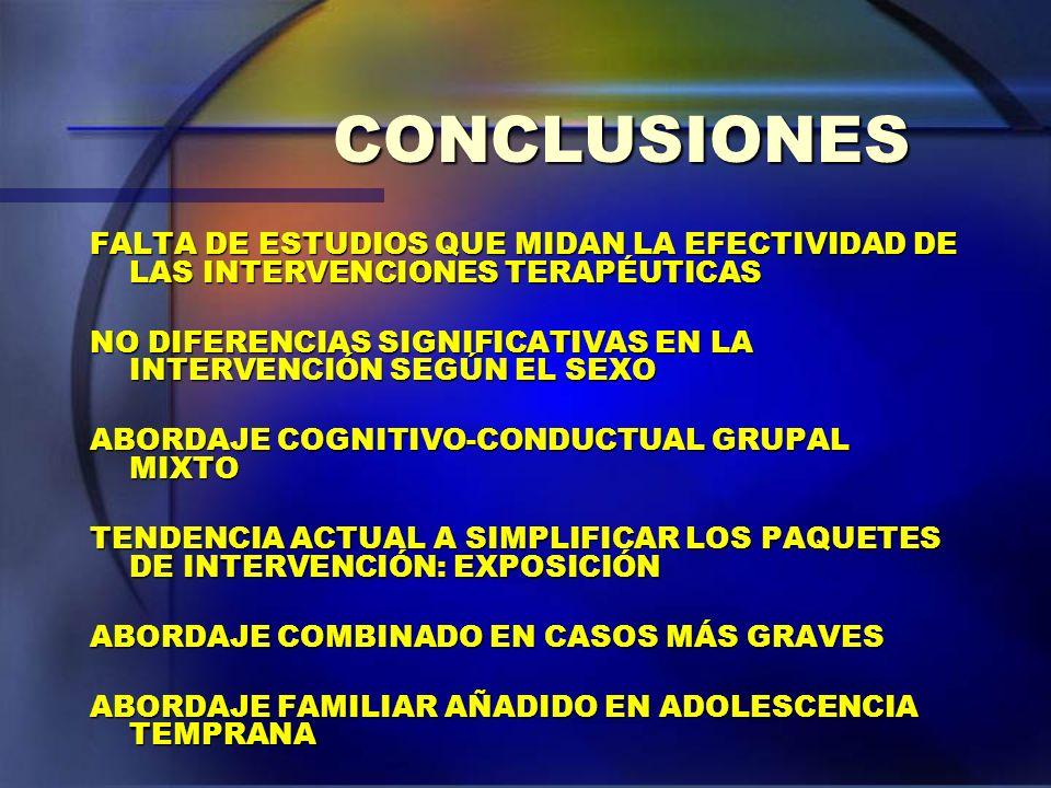 CONCLUSIONES FALTA DE ESTUDIOS QUE MIDAN LA EFECTIVIDAD DE LAS INTERVENCIONES TERAPÉUTICAS NO DIFERENCIAS SIGNIFICATIVAS EN LA INTERVENCIÓN SEGÚN EL S