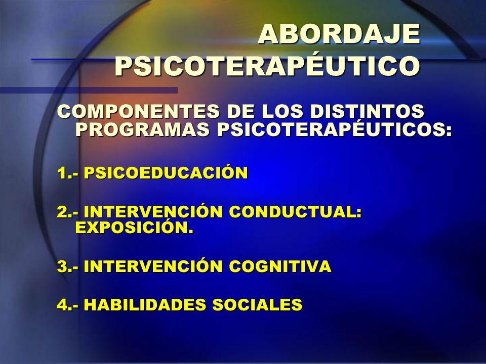ABORDAJE PSICOTERAPÉUTICO COMPONENTES DE LOS DISTINTOS PROGRAMAS PSICOTERAPÉUTICOS: 1.- PSICOEDUCACIÓN 2.- INTERVENCIÓN CONDUCTUAL: EXPOSICIÓN. 3.- IN