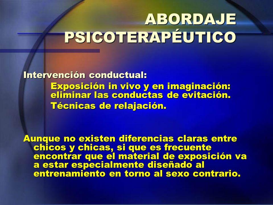 ABORDAJE PSICOTERAPÉUTICO Intervención conductual: Exposición in vivo y en imaginación: eliminar las conductas de evitación. Técnicas de relajación. A