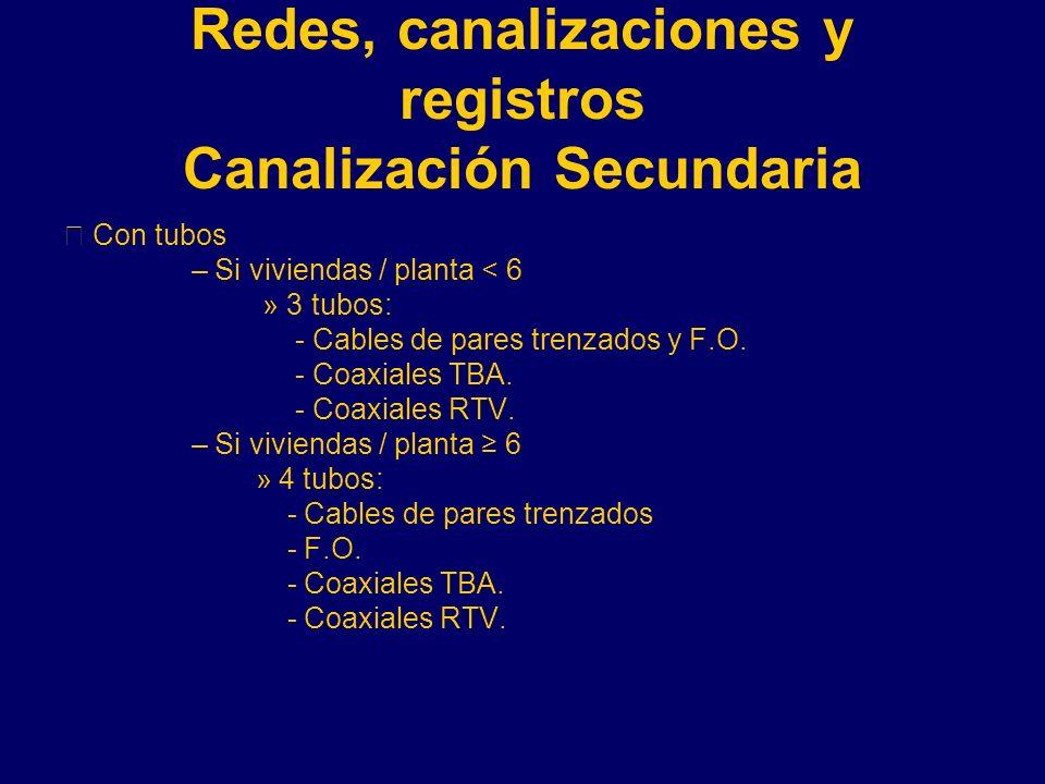 Redes, canalizaciones y registros Canalización Secundaria Con tubos – Si viviendas / planta < 6 » 3 tubos: - Cables de pares trenzados y F.O.