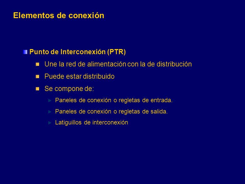 Punto de Interconexión (PTR) Une la red de alimentación con la de distribución Puede estar distribuido Se compone de: Paneles de conexión o regletas de entrada.